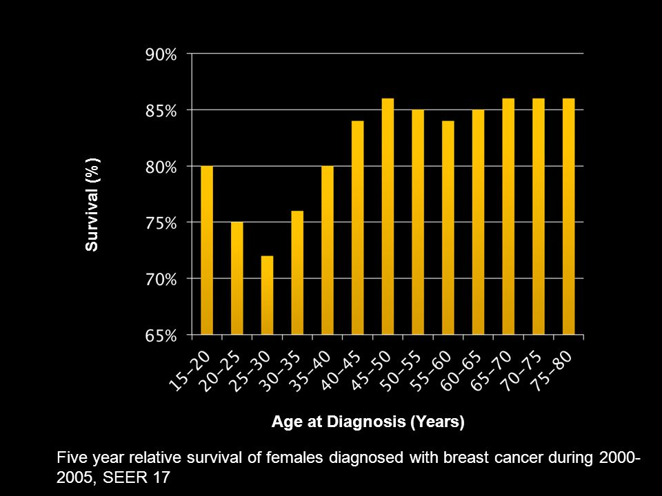 Survival (%) Age at Diagnosis (Years) Five year relative survival of females diagnosed with breast cancer during 2000- 2005, SEER 17