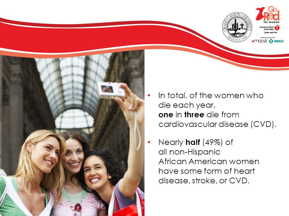 The Facts about Heart Disease and Women Heart disease is NOT just a man's disease More women die of cardiovascular disease than the next five causes of death combined, including cancer Cardiovascular disease causes almost 460,000 female deaths a year – and approximately one death per minute 43 million American women are living with cardiovascular disease 64% of women who die suddenly from coronary heart disease have no previous symptoms of the disease Cardiovascular disease is largely preventable Women are reluctant to call 911!