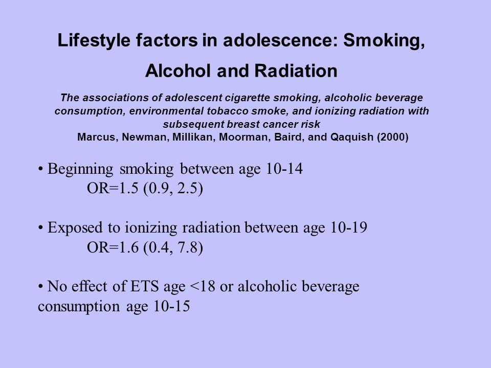 Lifestyle factors in adolescence: Smoking, Alcohol and Radiation The associations of adolescent cigarette smoking, alcoholic beverage consumption, environmental tobacco smoke, and ionizing radiation with subsequent breast cancer risk Marcus, Newman, Millikan, Moorman, Baird, and Qaquish (2000) Beginning smoking between age 10-14 OR=1.5 (0.9, 2.5) Exposed to ionizing radiation between age 10-19 OR=1.6 (0.4, 7.8) No effect of ETS age <18 or alcoholic beverage consumption age 10-15