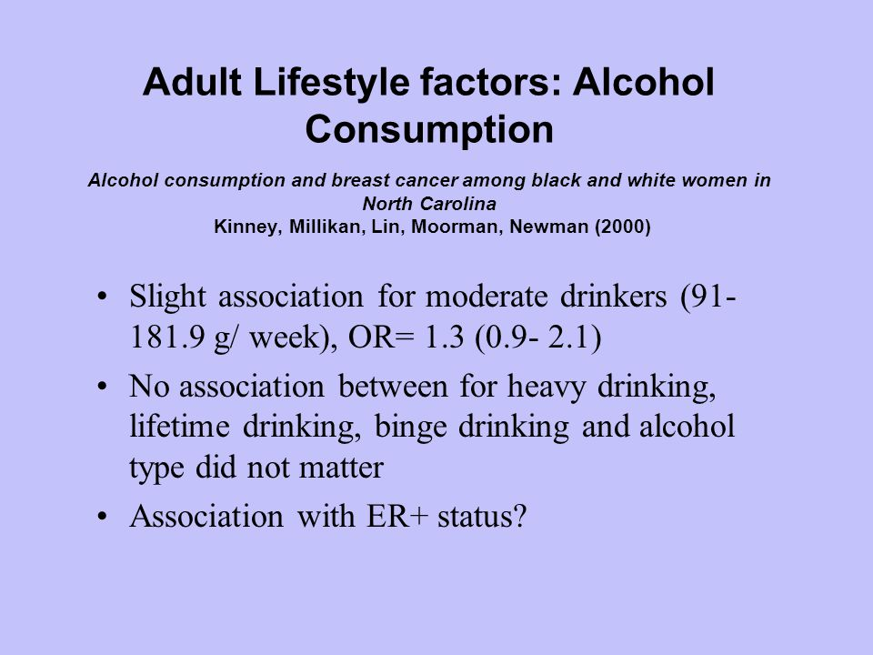Adult Lifestyle factors: Alcohol Consumption Alcohol consumption and breast cancer among black and white women in North Carolina Kinney, Millikan, Lin, Moorman, Newman (2000) Slight association for moderate drinkers (91- 181.9 g/ week), OR= 1.3 (0.9- 2.1) No association between for heavy drinking, lifetime drinking, binge drinking and alcohol type did not matter Association with ER+ status