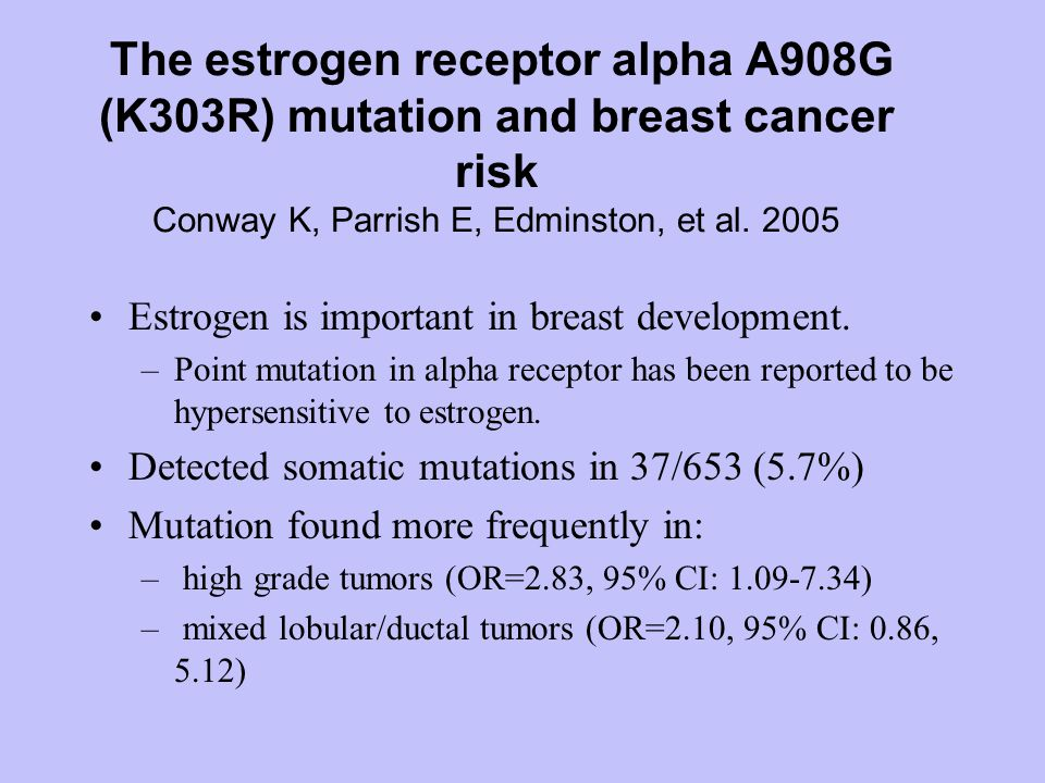 The estrogen receptor alpha A908G (K303R) mutation and breast cancer risk Conway K, Parrish E, Edminston, et al.