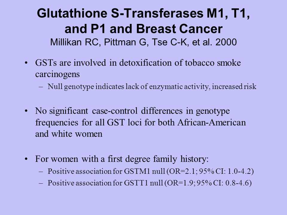 Glutathione S-Transferases M1, T1, and P1 and Breast Cancer Millikan RC, Pittman G, Tse C-K, et al.