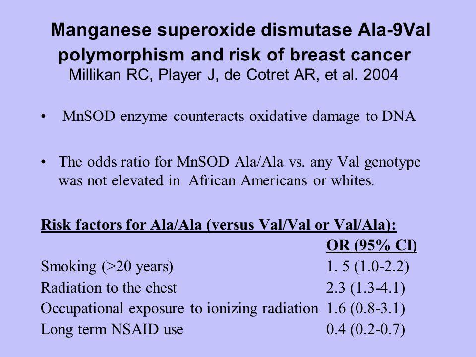Manganese superoxide dismutase Ala-9Val polymorphism and risk of breast cancer Millikan RC, Player J, de Cotret AR, et al.
