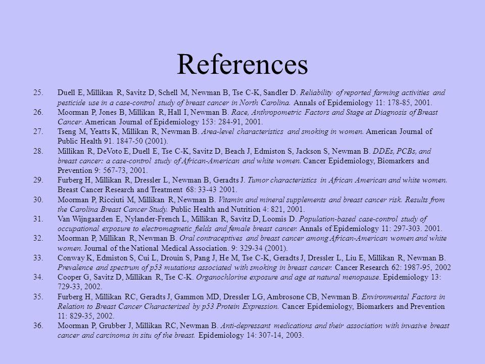 References 25.Duell E, Millikan R, Savitz D, Schell M, Newman B, Tse C-K, Sandler D.