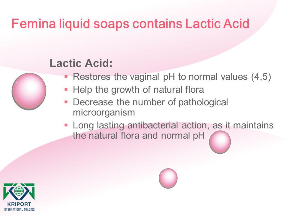 Femina liquid soaps contains Lactic Acid Lactic Acid:  Restores the vaginal pH to normal values (4,5)  Help the growth of natural flora  Decrease t