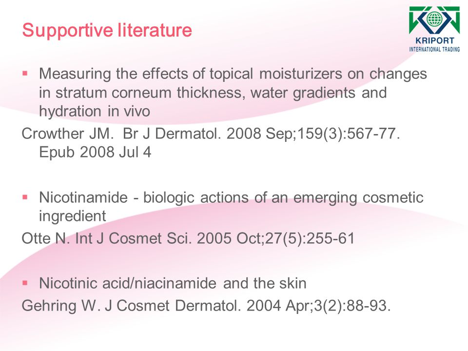 Supportive literature  Measuring the effects of topical moisturizers on changes in stratum corneum thickness, water gradients and hydration in vivo C