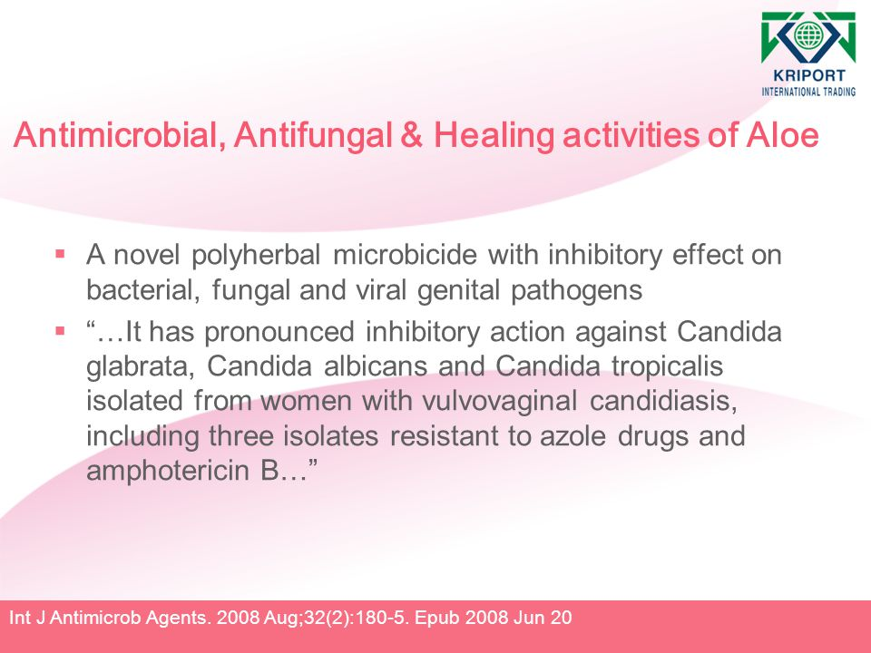 Antimicrobial, Antifungal & Healing activities of Aloe  A novel polyherbal microbicide with inhibitory effect on bacterial, fungal and viral genital