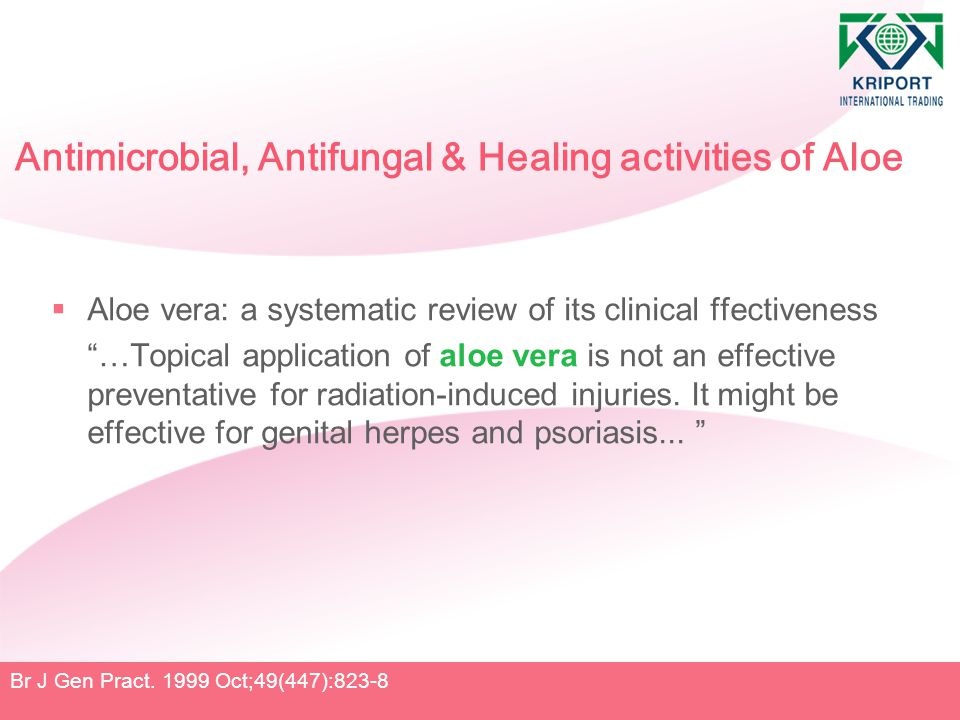 """Antimicrobial, Antifungal & Healing activities of Aloe  Aloe vera: a systematic review of its clinical ffectiveness """"…Topical application of aloe ver"""