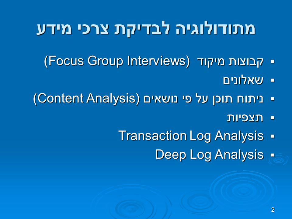 2 מתודולוגיה לבדיקת צרכי מידע  קבוצות מיקוד (Focus Group Interviews)  שאלונים  ניתוח תוכן על פי נושאים (Content Analysis)  תצפיות  Transaction Log Analysis  Deep Log Analysis