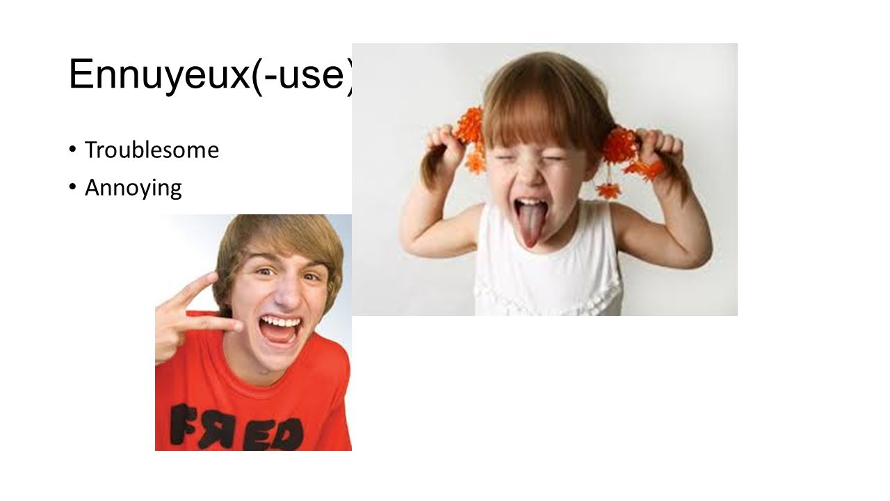 Ennuyeux(-use) Troublesome Annoying