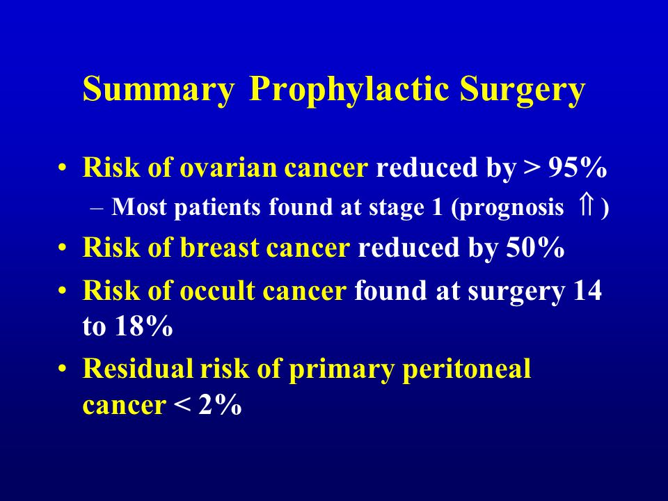 Summary Prophylactic Surgery Risk of ovarian cancer reduced by > 95% –Most patients found at stage 1 (prognosis  ) Risk of breast cancer reduced by 5