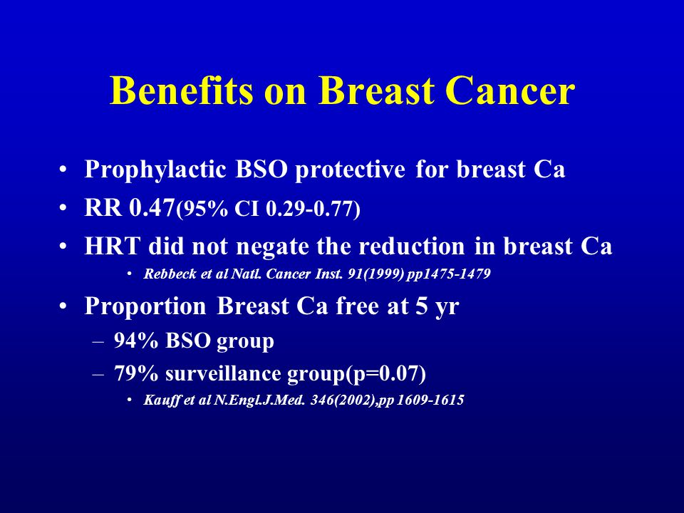 Benefits on Breast Cancer Prophylactic BSO protective for breast Ca RR 0.47 (95% CI 0.29-0.77) HRT did not negate the reduction in breast Ca Rebbeck e