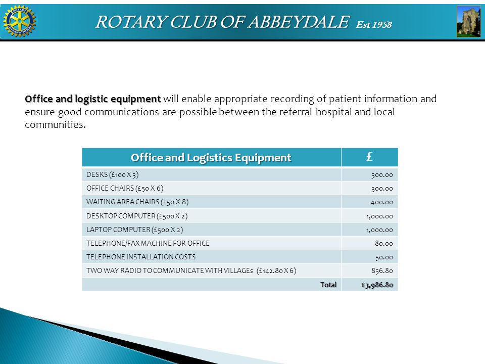 ROTARY CLUB OF ABBEYDALE Est 1958 Office and logistic equipment Office and logistic equipment will enable appropriate recording of patient information