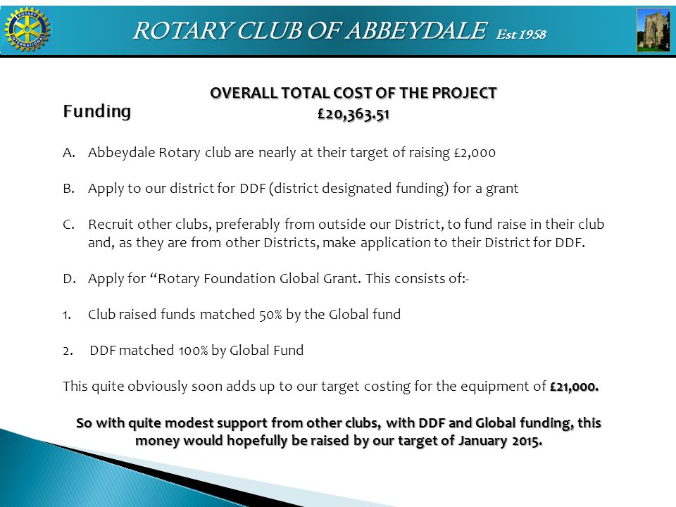ROTARY CLUB OF ABBEYDALE Est 1958 Funding A.Abbeydale Rotary club are nearly at their target of raising £2,000 B.Apply to our district for DDF (distri