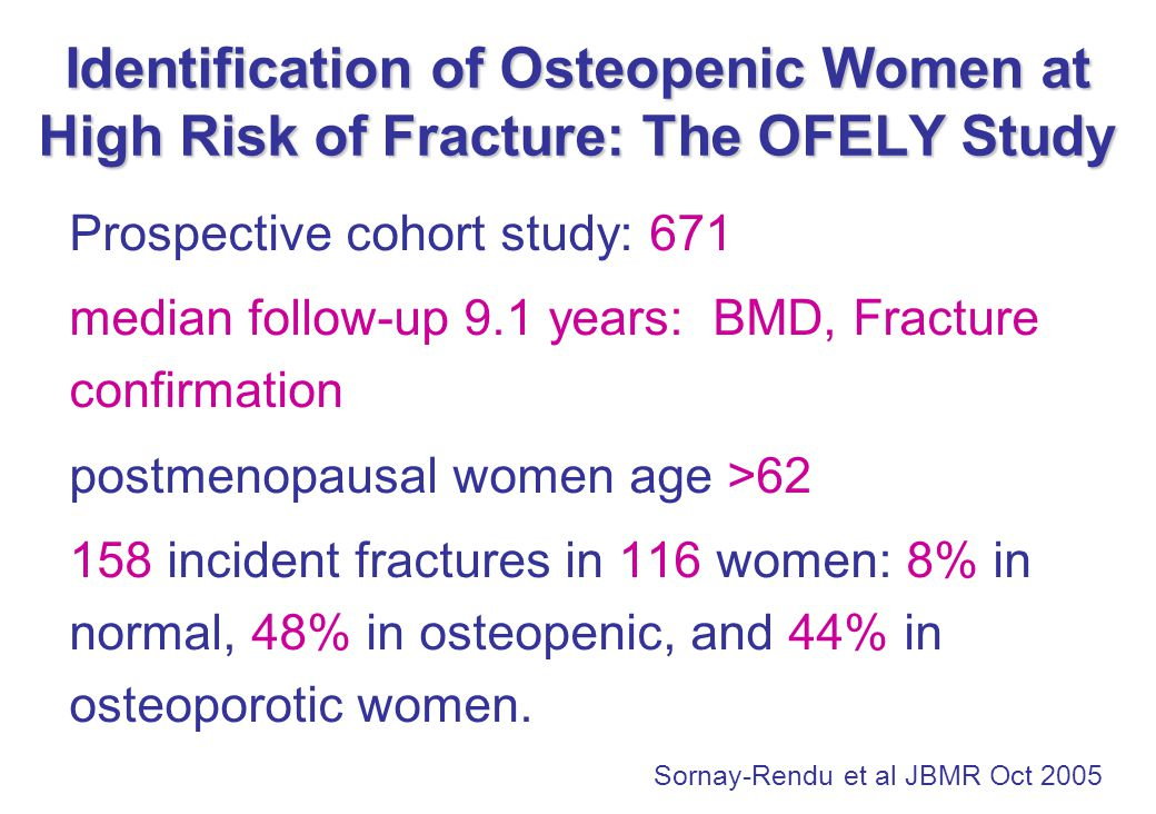 Identification of Osteopenic Women at High Risk of Fracture: The OFELY Study Prospective cohort study: 671 median follow-up 9.1 years: BMD, Fracture confirmation postmenopausal women age >62 158 incident fractures in 116 women: 8% in normal, 48% in osteopenic, and 44% in osteoporotic women.