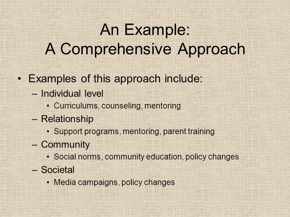 An Example: A Comprehensive Approach Examples of this approach include: –Individual level Curriculums, counseling, mentoring –Relationship Support programs, mentoring, parent training –Community Social norms, community education, policy changes –Societal Media campaigns, policy changes