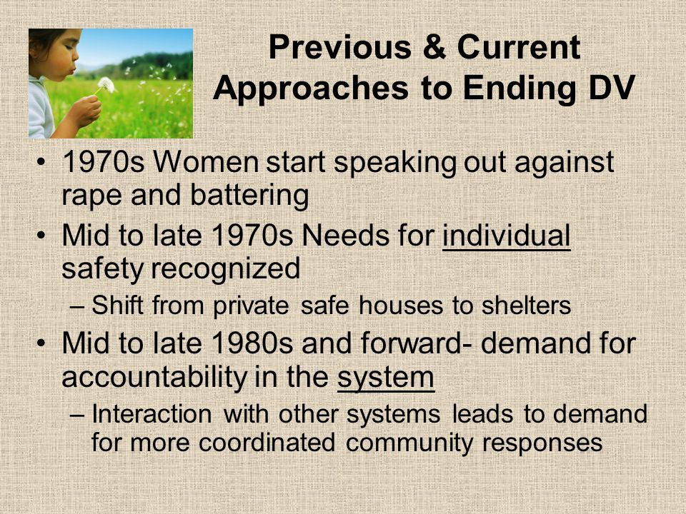 Previous & Current Approaches to Ending DV 1970s Women start speaking out against rape and battering Mid to late 1970s Needs for individual safety recognized –Shift from private safe houses to shelters Mid to late 1980s and forward- demand for accountability in the system –Interaction with other systems leads to demand for more coordinated community responses