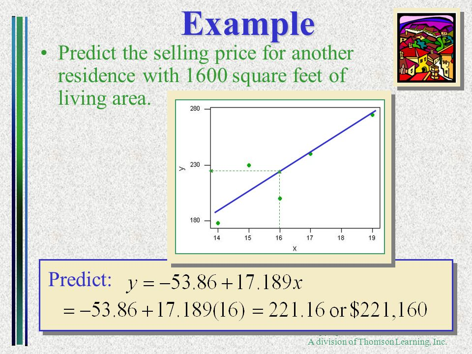 Copyright ©2005 Brooks/Cole A division of Thomson Learning, Inc. Predict: Example Predict the selling price for another residence with 1600 square fee