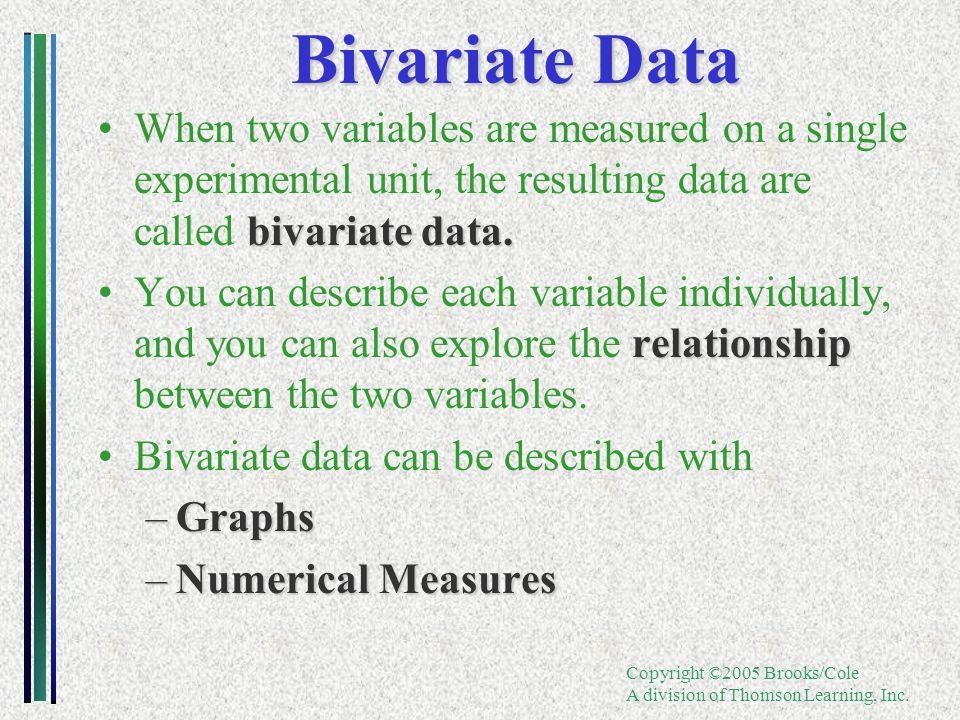 Copyright ©2005 Brooks/Cole A division of Thomson Learning, Inc. Bivariate Data bivariate data.When two variables are measured on a single experimenta