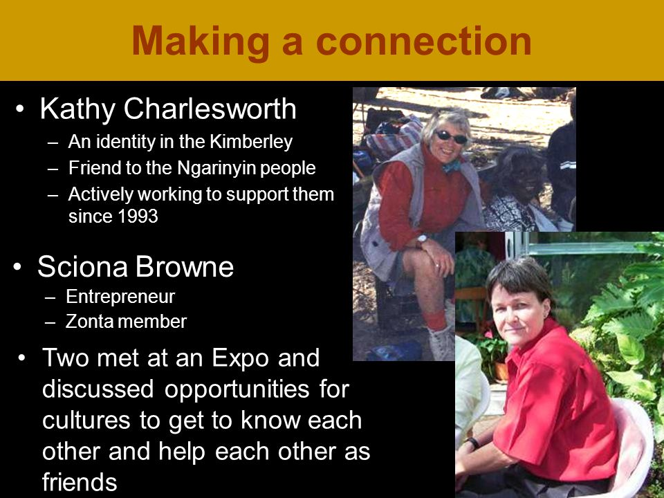 Making a connection Kathy Charlesworth –An identity in the Kimberley –Friend to the Ngarinyin people –Actively working to support them since 1993 Two met at an Expo and discussed opportunities for cultures to get to know each other and help each other as friends Sciona Browne –Entrepreneur –Zonta member