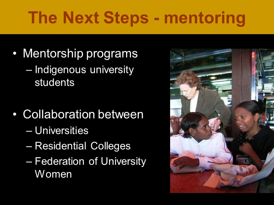Mentorship programs –Indigenous university students Collaboration between –Universities –Residential Colleges –Federation of University Women The Next Steps - mentoring