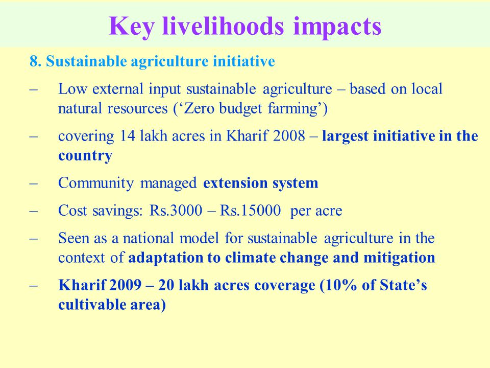 Key livelihoods impacts 8.