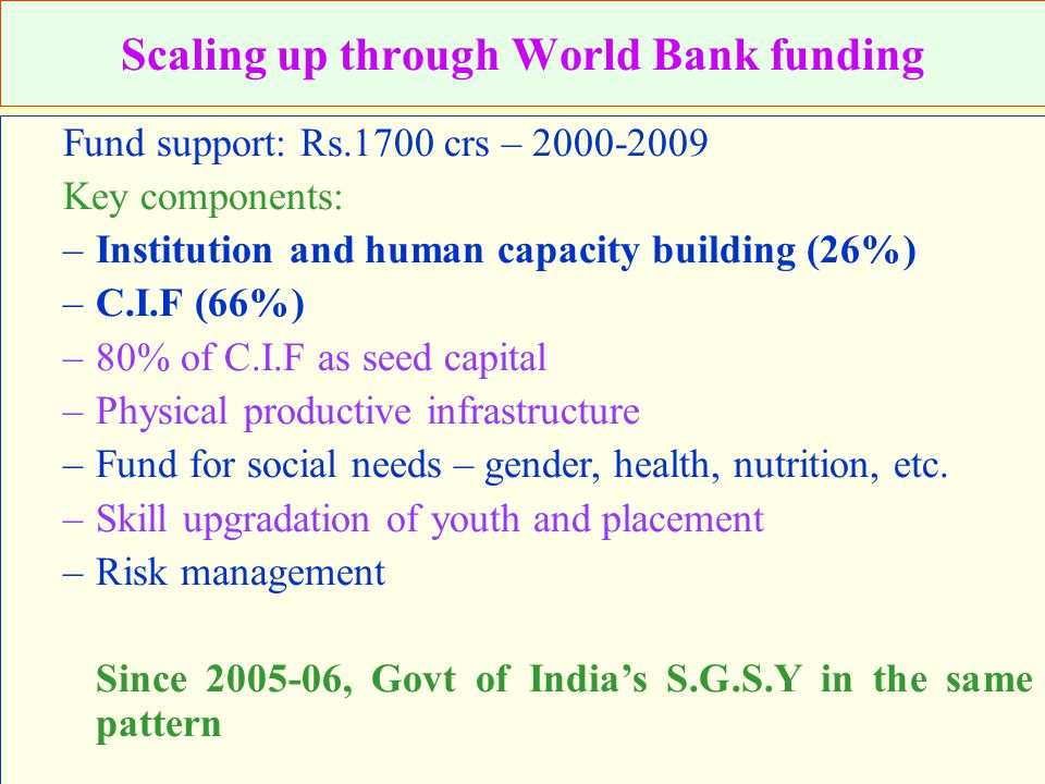 Scaling up through World Bank funding Fund support: Rs.1700 crs – 2000-2009 Key components: –Institution and human capacity building (26%) –C.I.F (66%) –80% of C.I.F as seed capital –Physical productive infrastructure –Fund for social needs – gender, health, nutrition, etc.
