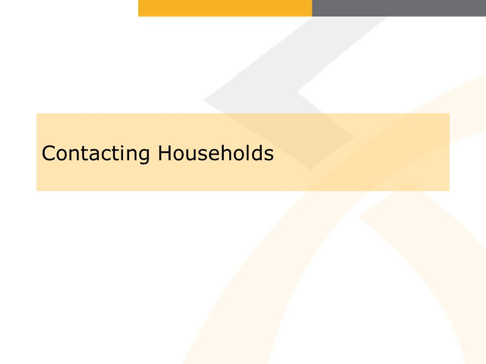 Contacting Households