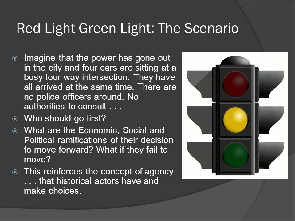 Red Light Green Light: The Scenario  Imagine that the power has gone out in the city and four cars are sitting at a busy four way intersection. They