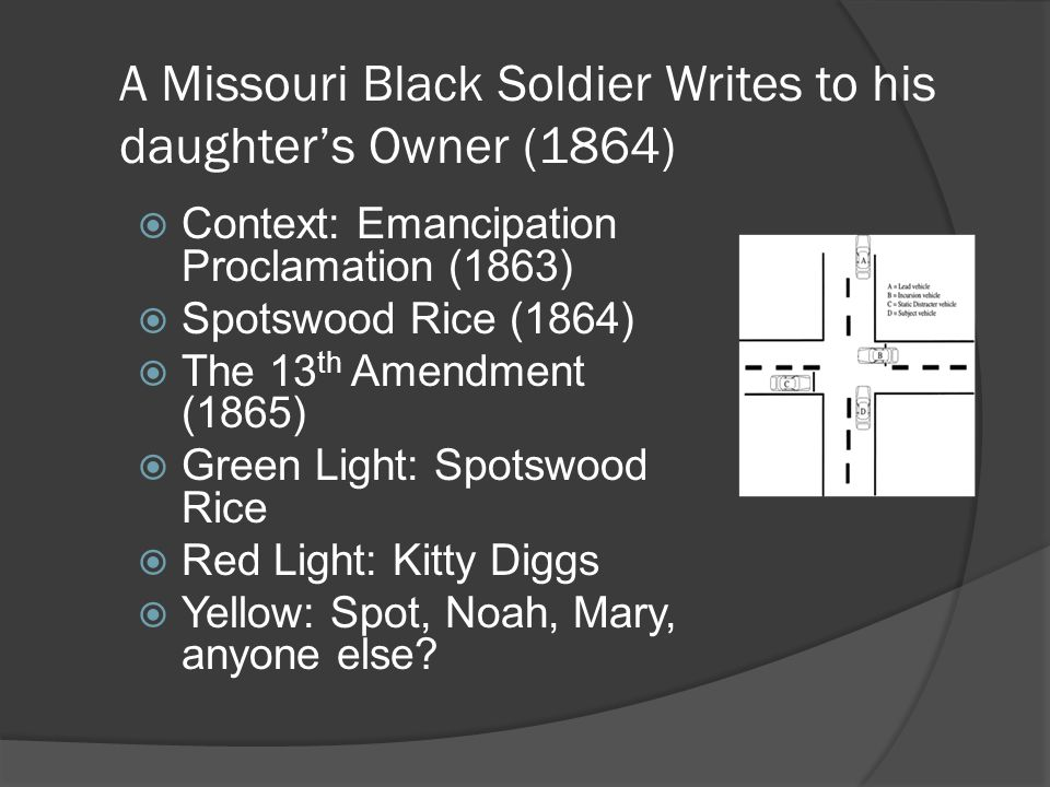 A Missouri Black Soldier Writes to his daughter's Owner (1864)  Context: Emancipation Proclamation (1863)  Spotswood Rice (1864)  The 13 th Amendment (1865)  Green Light: Spotswood Rice  Red Light: Kitty Diggs  Yellow: Spot, Noah, Mary, anyone else