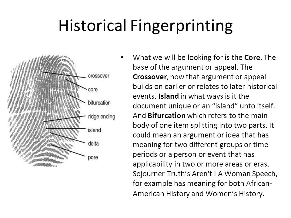 Historical Fingerprinting Historical Finger printing simply means identifying the historical roots of modern America or historical antecedents of more recent history.