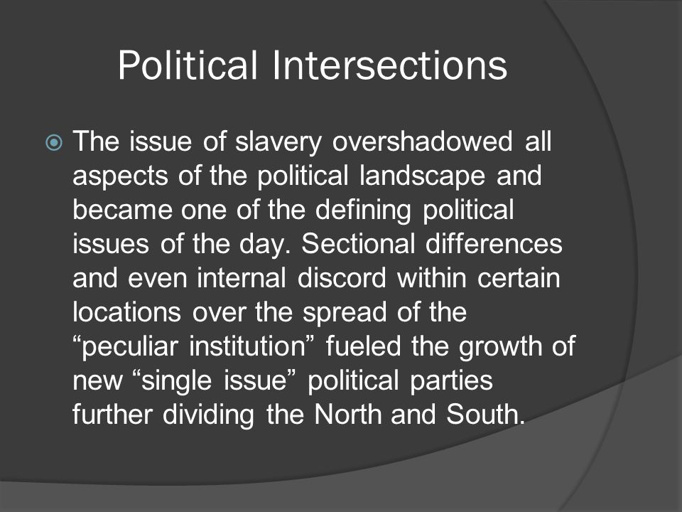 Political Intersections  The issue of slavery overshadowed all aspects of the political landscape and became one of the defining political issues of the day.