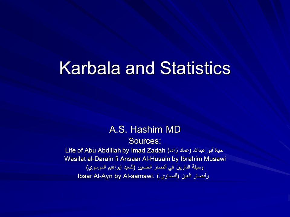 Karbala and Statistics A.S. Hashim MD Sources: Life of Abu Abdillah by Imad Zadah حياة أبو عبدالله (عماد زاده) Wasilat al-Darain fi Ansaar Al-Husain b