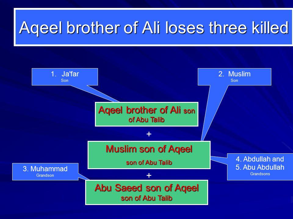 4. Abdullah and 5. Abu Abdullah Grandsons 3. Muhammad Grandson Aqeel brother of Ali loses three killed 2. Muslim Son 1.Ja'far Son Aqeel brother of Ali
