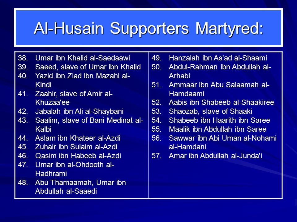 Al-Husain Supporters Martyred: 38.Umar ibn Khalid al-Saedaawi 39.Saeed, slave of Umar ibn Khalid 40.Yazid ibn Ziad ibn Mazahi al- Kindi 41.Zaahir, sla