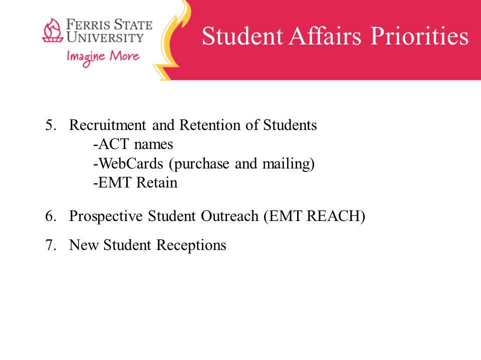 Student Affairs Priorities 5.