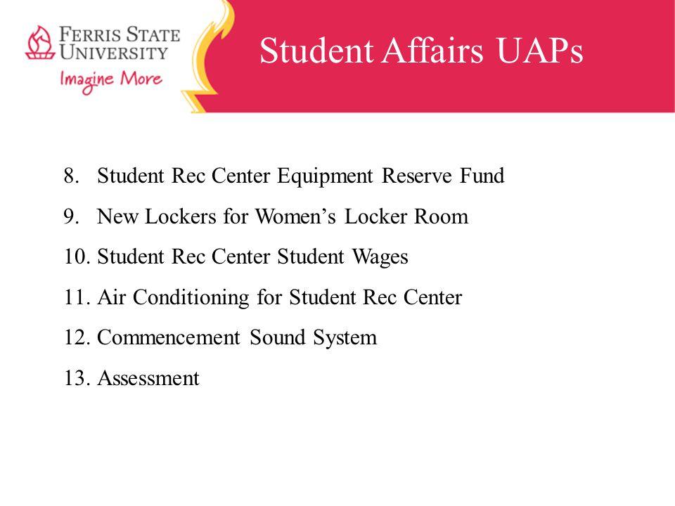Student Affairs UAPs 8.Student Rec Center Equipment Reserve Fund 9.New Lockers for Women's Locker Room 10.Student Rec Center Student Wages 11.Air Cond