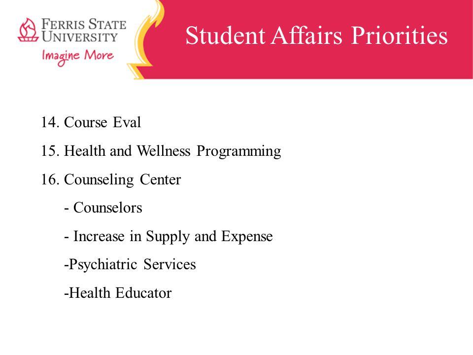 Student Affairs Priorities 14.Course Eval 15.