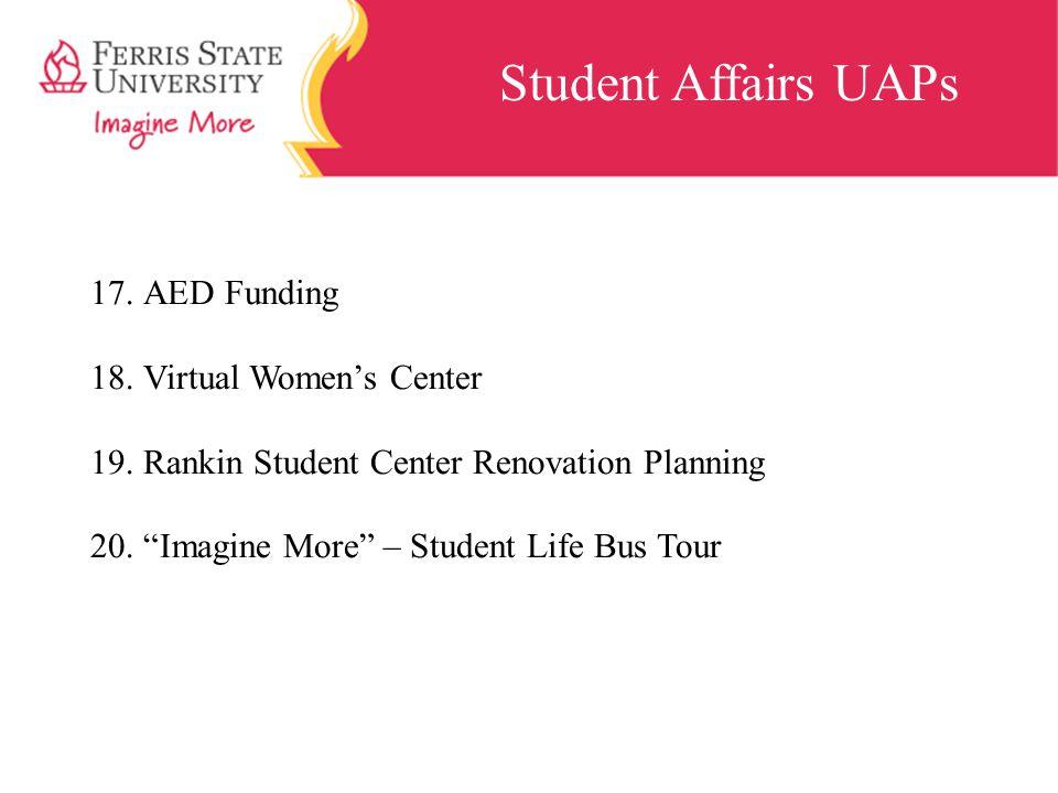 "Student Affairs UAPs 17.AED Funding 18.Virtual Women's Center 19.Rankin Student Center Renovation Planning 20.""Imagine More"" – Student Life Bus Tour"