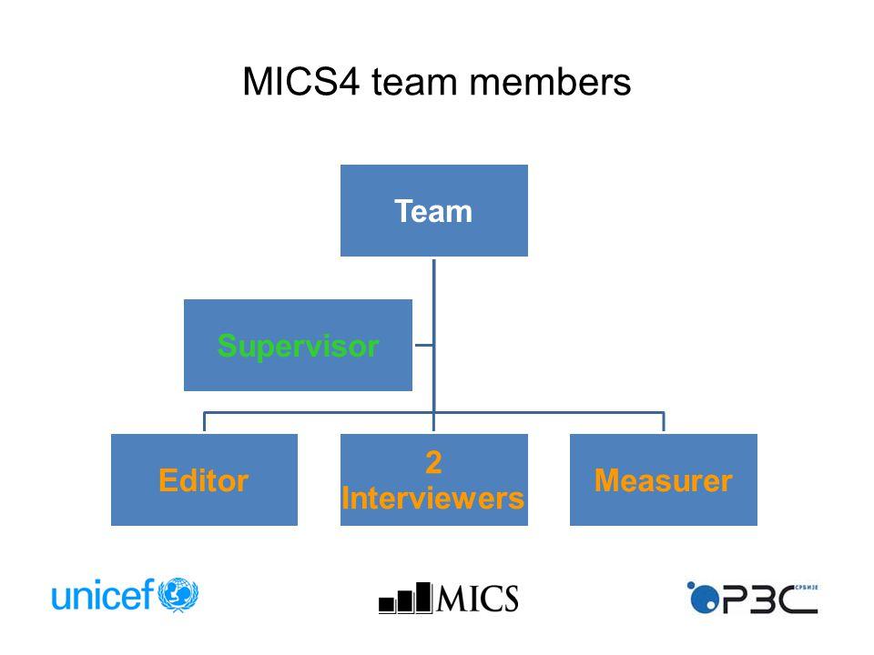 MICS4 team members Team Editor 2 Interviewers Measurer Supervisor