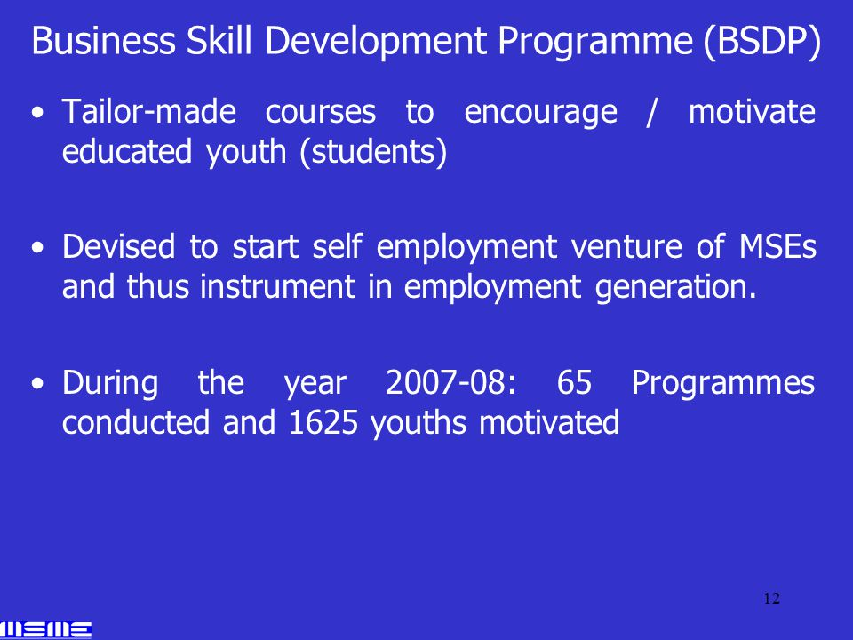 12 Business Skill Development Programme (BSDP) Tailor-made courses to encourage / motivate educated youth (students) Devised to start self employment venture of MSEs and thus instrument in employment generation.