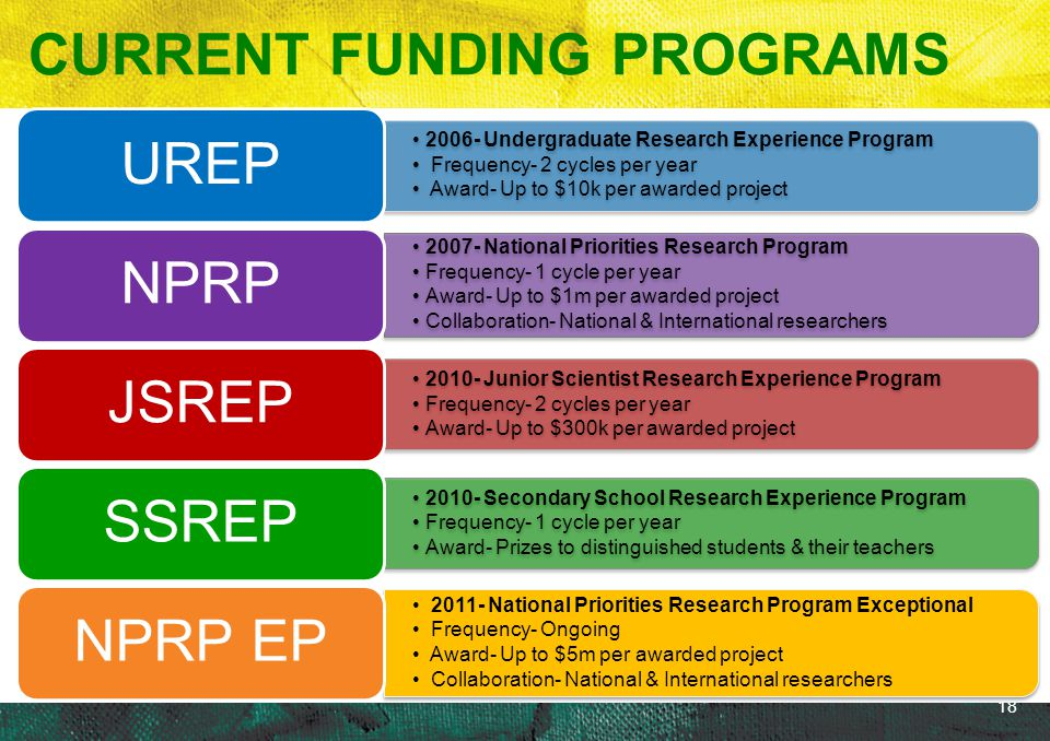 18 2006- Undergraduate Research Experience Program Frequency- 2 cycles per year Award- Up to $10k per awarded project UREP 2007- National Priorities R