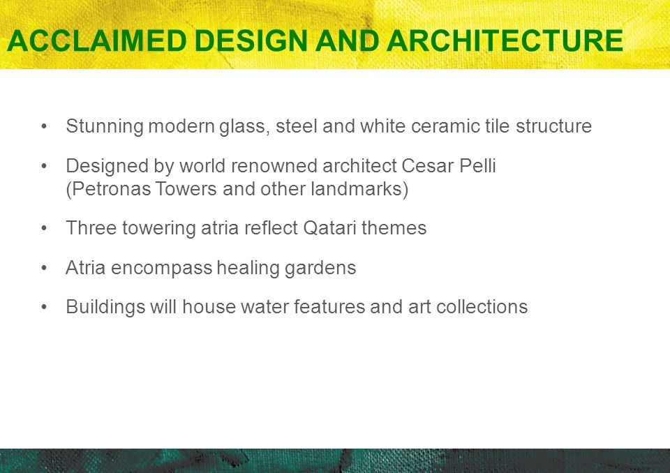 Stunning modern glass, steel and white ceramic tile structure Designed by world renowned architect Cesar Pelli (Petronas Towers and other landmarks) T