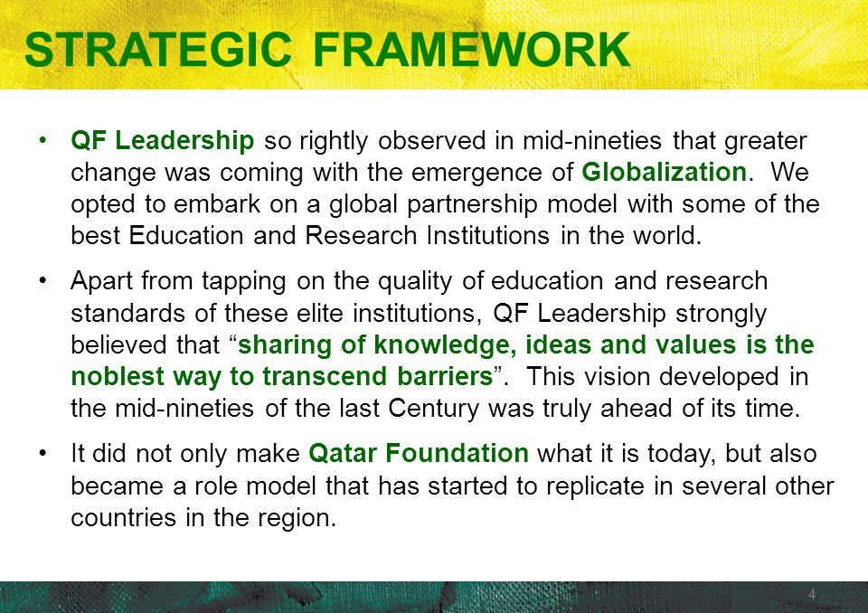 4 STRATEGIC FRAMEWORK QF Leadership so rightly observed in mid-nineties that greater change was coming with the emergence of Globalization. We opted t