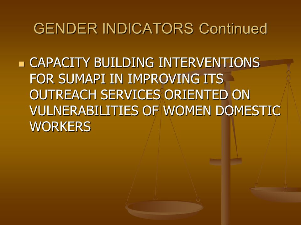 GENDER INDICATORS Continued CAPACITY BUILDING INTERVENTIONS FOR SUMAPI IN IMPROVING ITS OUTREACH SERVICES ORIENTED ON VULNERABILITIES OF WOMEN DOMESTIC WORKERS CAPACITY BUILDING INTERVENTIONS FOR SUMAPI IN IMPROVING ITS OUTREACH SERVICES ORIENTED ON VULNERABILITIES OF WOMEN DOMESTIC WORKERS
