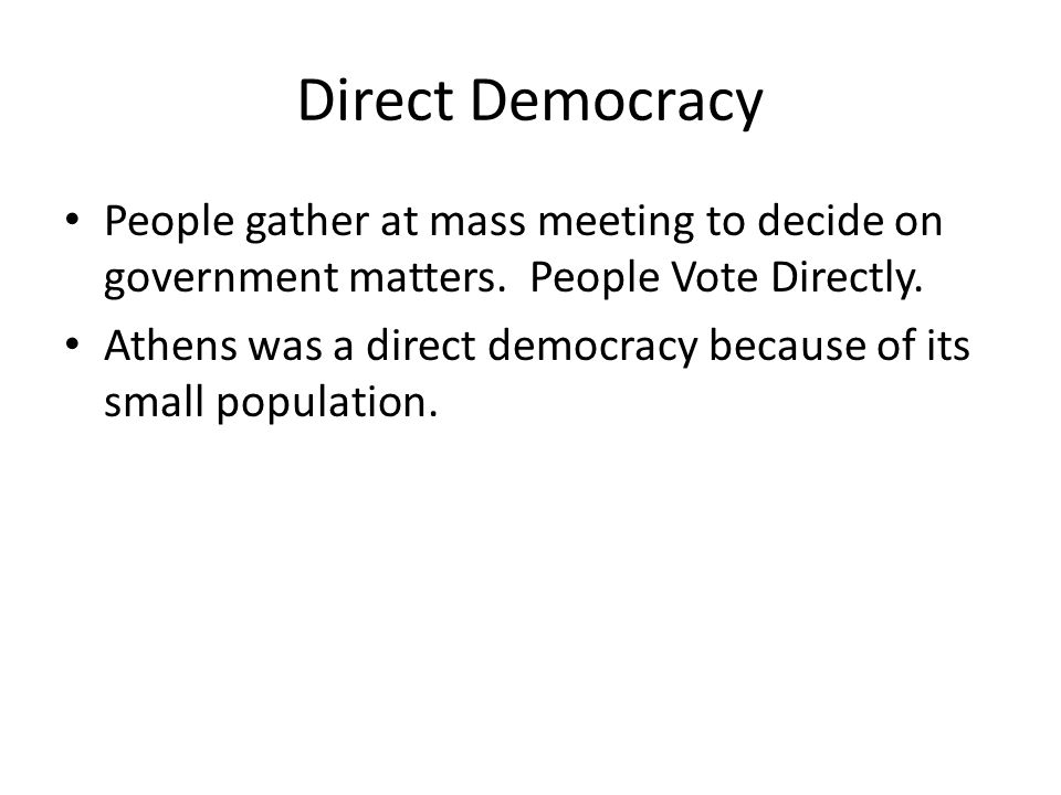 Direct Democracy People gather at mass meeting to decide on government matters.