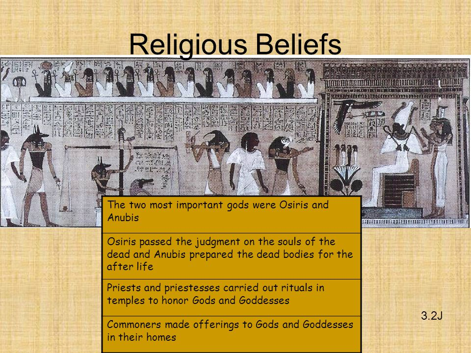 3.2J Religious Beliefs The two most important gods were Osiris and Anubis Osiris passed the judgment on the souls of the dead and Anubis prepared the