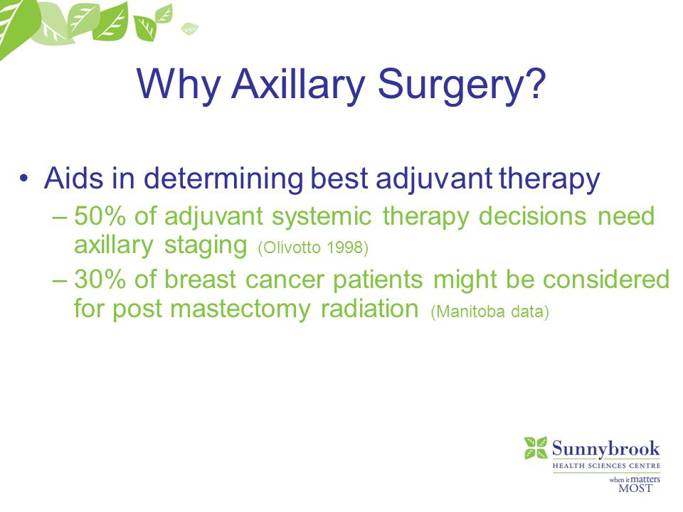 Why Axillary Surgery? Aids in determining best adjuvant therapy –50% of adjuvant systemic therapy decisions need axillary staging (Olivotto 1998) –30%