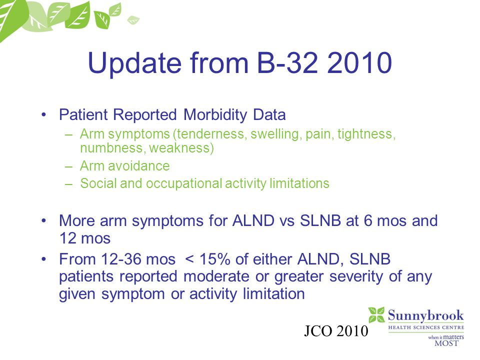 Update from B-32 2010 Patient Reported Morbidity Data –Arm symptoms (tenderness, swelling, pain, tightness, numbness, weakness) –Arm avoidance –Social