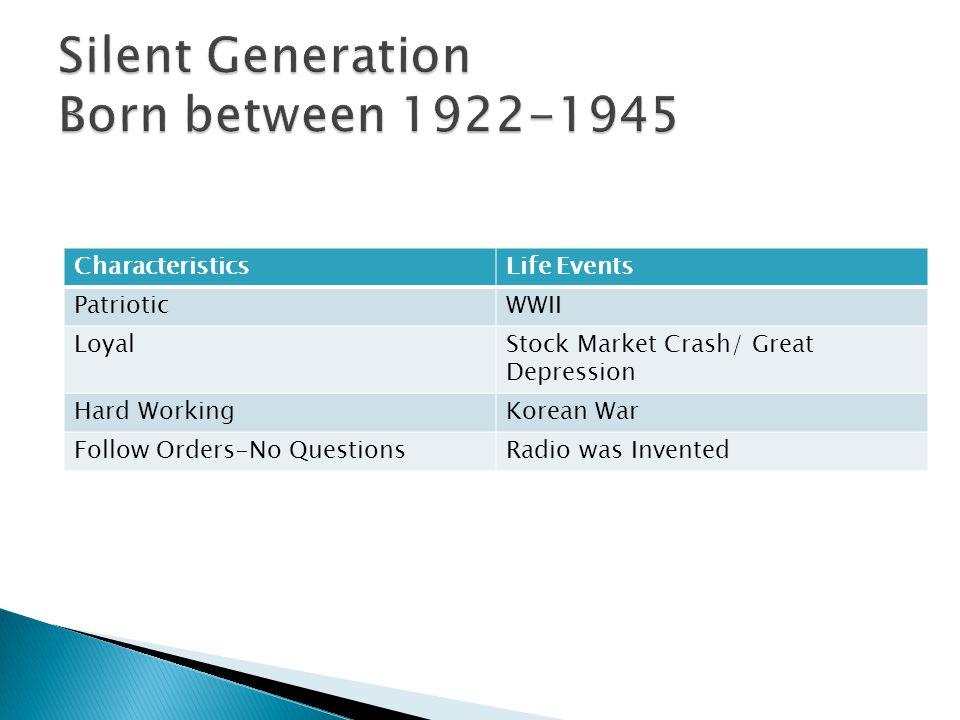 CharacteristicsLife Events PatrioticWWII LoyalStock Market Crash/ Great Depression Hard WorkingKorean War Follow Orders-No QuestionsRadio was Invented